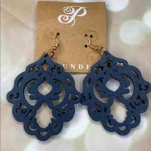 Plunder Navy Blue Wood Cut Out Earrings